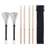 2 Pairs 5A Drum Sticks Classic Maple Wood Drumsticks Sets + 1 Pair Drum Wire Brushes Retractable Brush with Storage Bag  for Jazz Folk Music