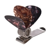 Universal Guitar Picks Holder Clip Metal with 3pcs Picks(Guitar Picks Random Delivery)