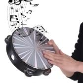 Tambourin radiant en bois tambour à main avec Double instrument de percussion tête de tambour de la rangée Jingles jouet musical