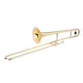 ammoon Alto Trombone Brass Gold Lacquer Bb Tone B flat Wind Instrument with Cupronickel Mouthpiece Cleaning Stick Case