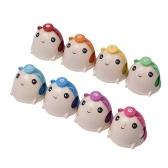 8 sztuk / zestaw Kolorowe Cute Cartoon Deskbell Mouse-kształt Hand Bells Handbell Hand Percussion Bells Kit Zabawka muzyczna dla dzieci Dzieci do muzycznej nauki nauczania