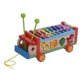 Multifunktionales Holzspielzeugauto mit 8 Noten Xylophon Glockenspiel