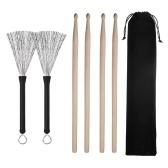 Набор принадлежностей для барабанов, содержащий выдвижные проволочные щетки 5A, кленовые палочки, молотки, сумка для переноски