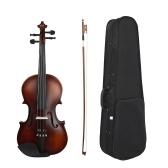 Muslady AV-590 Full Size 4/4 Violin Basswood Body Head Ebony Fingerboard Pegs Chin Rest Tailpiece