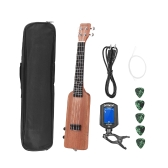 "ammoon Creative Bottle Shape 23"" Solid Wood Okoume Electric Ukulele Ukelele Uke Kit with Tuner Carrying Bag 3.5mm Audio Cable 4pcs Extra Strings 5pcs Celluloid Picks"