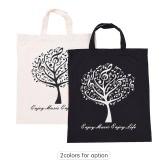 Musikalische Baum-Muster Waschbare Baumwolltuch Handtasche Musik-Taschen-Schulter-Lebensmittelgeschäft-Einkaufstasche für Studenten Mädchen