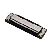 QI MEI 1020 Blues Harmonica Key of C 10 Holes 20 Tunes Arpa diatonica Mouthorgan con panno per la pulizia e scatola di immagazzinaggio Oro