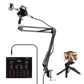 Muslady V12 Live Sound Card + Kit microfono a condensatore professionale