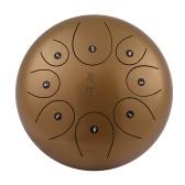 Tambor de cuerda de acero de 10 pulgadas Tambor de mano Tambor de mano Instrumento de percusión con mazos de tambor Bolsa de transporte Patas de nota para meditación Yoga Zazen Sanación de sonido