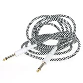 Cable de 3M / 10FT en blanco y negro de tela trenzada Tweed Cable de la guitarra