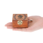 Retro Wooden Musical Box Hand Crank Music Box Exquisite Workmanship 4 Patterns for Option