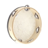 """Second Hand 8"""" Hand Held Tambourine Drum Bell Birch Metal Jingles Percussion Musical Educational Toy Instrument for KTV Party Kids Games"""