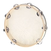 "10"" Hand Held Tambourine Drum Bell Birch Metal Jingles Percussion"