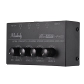 Muslady HA400 Ultra-compact 4 Channels Mini Audio Stereo Headphone Amplifier with Power Adapter
