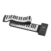 88 Keys Portable Roll Up Piano Electronic Keyboard Silicon Built-in Stereo Speaker 1000mA Li-ion Battery Support MIDI OUT Microphone Audio Input functions with Sustain Pedal