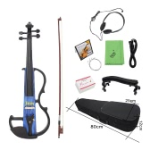 "Full Size 4/4 Electric Violin Fiddle Maple Wood Stringed Instrument Ebony Fretboard Chin Rest with 1/4"" Connecting Cable Earphone Case for Music   Lovers Beginners"