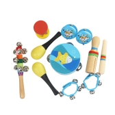 10pcs/set Musical Toys Percussion Instruments Band Rhythm Kit Including Tambourine Maracas Castanets Handbells Wooden Guiro for Kids Children Toddlers