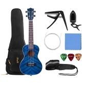 23 Inch Acoustic Concert Ukulele Ukelele Uke Blue Plywood Body Engineered Wood Fingerboard Bridge