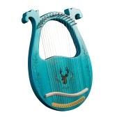 Instrumento de cuerda de caja de resonancia de arpa de lira de madera de 16 cuerdas con llave de afinación 3 púas