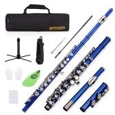 ammoon Closed Hole C Flute 16 Keys Cupronickel Nickel-plated Wind Instrument