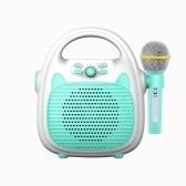 Alto-falante portátil recarregável de karaokê para máquina de karaokê com microfone BT / cartão de memória / luzes de conectividade USB para meninos e meninas