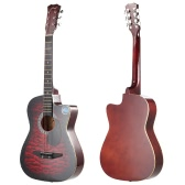 "38"" Folk Acoustic Guitar 6-String Cutaway Basswood Side & Backboard 18 Fret Maple Fretboard for Beginners Music Lovers Students Gift"