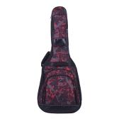 """42 """"アコースティックフォーククラシックギターバッグケースバックパック調節可能なショルダーストラップ600D布マルチポケット迷彩レッド"""