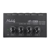 Muslady MX400 Mezclador de audio mono línea de 4 canales de bajo ruido ultra compacto con adaptador de corriente