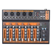 Portable 7-Channel Mic Line Audio Mixer Mixing Console 3-band EQ USB Interface 48V Phantom Power with Power Adapter