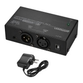 ammoon Microfono a condensatore ultracompatto Phantom Power Supply + 12V + 48V selezionabile con alimentatore