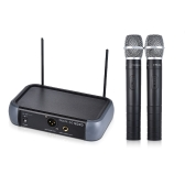 ammoon Sistema VHF con microfono a doppio canale per palmari wireless con funzione Echo per Karaoke Family Party Performance Presentation Public Address