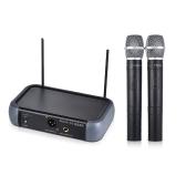 Ammoon Dual Channel VHF Wireless Handheld-Mikrofon-System mit Echo-Funktion für Karaoke Family Party Performance Präsentation Volksanschrift