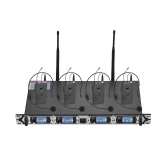 Muslady D4-2プロフェッショナル4チャンネルUHFワイヤレスマイクシステムにはボディパック送信機付き4ヘッドセットマイク+ビジネスミーティング用の1ラックマウントレシーバーが含まれています公共スピーチクラスルーム教育