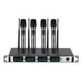 プロフェッショナルワイヤレスマイクシステム4チャンネルUHFコードレスマイクセット