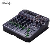 Muslady T6 Портативная 6-канальная консоль микширования звуковой карты Аудио микшер Встроенный 16 DSP 48 В Фантомное питание Поддерживает подключение BT Функция записи MP3-плеера Питание 5 В для DJ Network Прямая трансляция Караоке