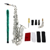 Saxophone Sax Eb Be Alto E Flat Brass Carved Pattern on Surface Plastic Mouthpiece Exquisite with Gloves Cleaning Cloth Brush Straps