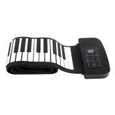 Портативный 88 клавиш Силиконовый гибкий свернутый фортепиано Складная клавиатура Ручная роспись Фортепиано с педалью Battery Sustain