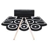 Tragbare elektronische Roll Up Drum Pad Set 9 Silikon-Pads Integrierte Lautsprecher mit Drumsticks Fußpedale USB 3,5-mm-Audiokabel