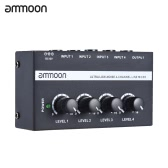ammoon MX400 ultracompatte Low Noise 4 Canali Linea Mono Audio Mixer con adattatore di alimentazione