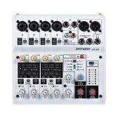 ammoon AM-6R Tarjeta de sonido de 8 canales Mezclador de audio digital Consola de mezclas Soporte de alimentación Phantom incorporado de 48V Alimentado por 5V Power Bank con adaptador de corriente Cables USB para grabación Red de DJ Transmisión en vivo Karaoke