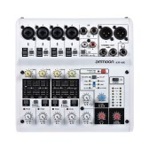 ammoon AM-6R 8チャンネルサウンドカードデジタルオーディオミキサーミキシングコンソール内蔵48Vファンタム電源サポート電源アダプタ付き5V電源バンクで録音DJネットワーク録音用USBケーブルライブブロードキャストカラオケ