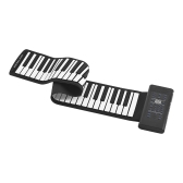 Portable 61-Key Roll Up Piano Electronic Keyboard Silicon Built-in Stereo Speaker 1000mA Li-ion Battery Support MIDI OUT Microphone Audio Input functions
