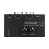 "Ultra-compact Phono Preamp Preamplifier with Level & Volume Controls RCA Input & Output 1/4"" TRS Output Interfaces"