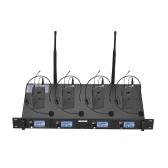 Muslady D4-2 Professional 4-kanałowy bezprzewodowy system mikrofonowy UHF zawiera 4 mikrofony zestawu słuchawkowego z nadajnikami Bodypack + 1 odbiornik do montażu w szafie do spotkań biznesowych