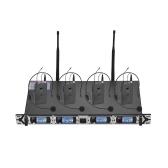 El sistema de micrófono inalámbrico UHF profesional de 4 canales Muslady D4-2 incluye 4 micrófonos de auriculares con transmisores de cuerpo + 1 receptor de montaje en rack para reuniones de negocios