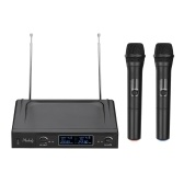 Muslady V1 VHF Wireless Microphone System 2 Handheld Mics & 1 Receiver with LCD Display for Karaoke Home Entertainment Business Meeting Speech Classroom Teaching