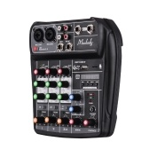 Muslady AI-4 Placa de som compacta Console de mixagem Mixer de áudio digital 4 canais BT MP3 Entrada USB + 48V Phantom Power