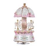 Luxury Dream 3-Horse Rotating Carousel Merry-go-round Windup Music Box