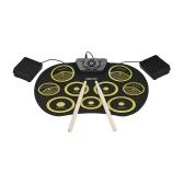 Set di batteria elettronica portatile Roll Up Drum Kit 9 Pad in silicone USB alimentato con pedali Bacchette Cavo USB per studenti Bambini