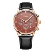 SONGDUファッションラグジュアリー本革メンズカジュアルウォッチクォーツクロノ30M防水ビジネス腕時計+ボックス